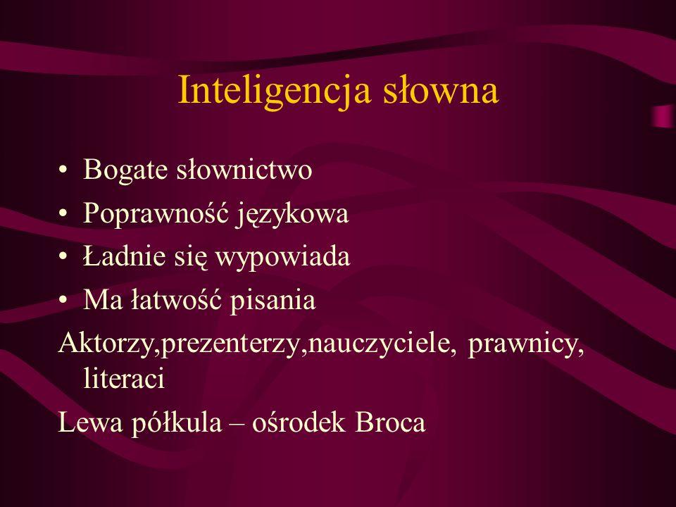 Inteligencja słowna Bogate słownictwo Poprawność językowa