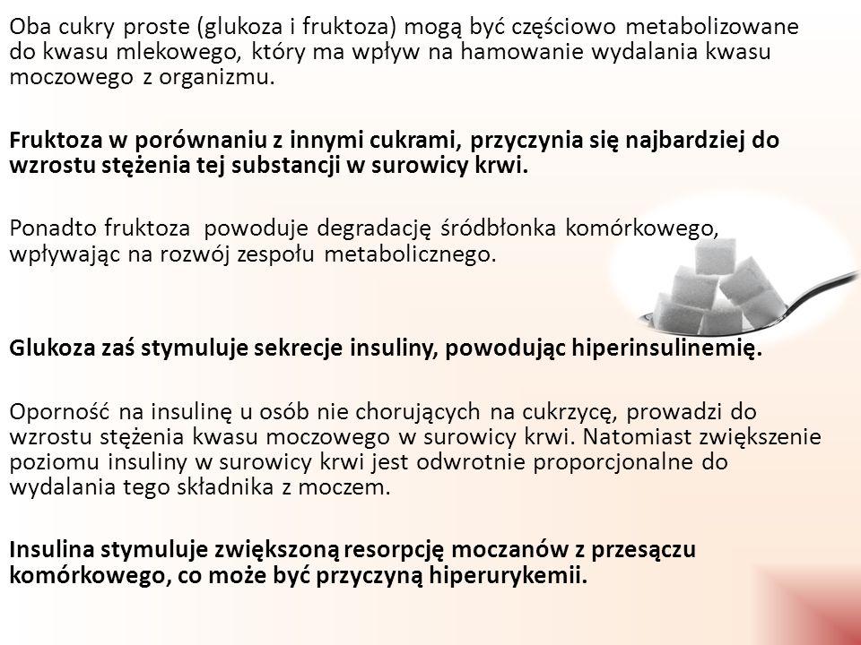Oba cukry proste (glukoza i fruktoza) mogą być częściowo metabolizowane do kwasu mlekowego, który ma wpływ na hamowanie wydalania kwasu moczowego z organizmu.