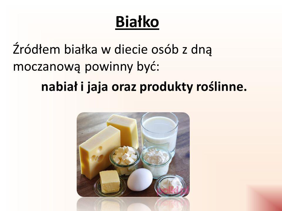 Białko Źródłem białka w diecie osób z dną moczanową powinny być: nabiał i jaja oraz produkty roślinne.