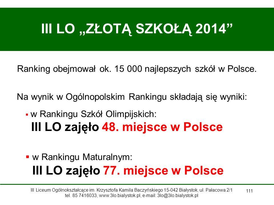 Ranking obejmował ok. 15 000 najlepszych szkół w Polsce.