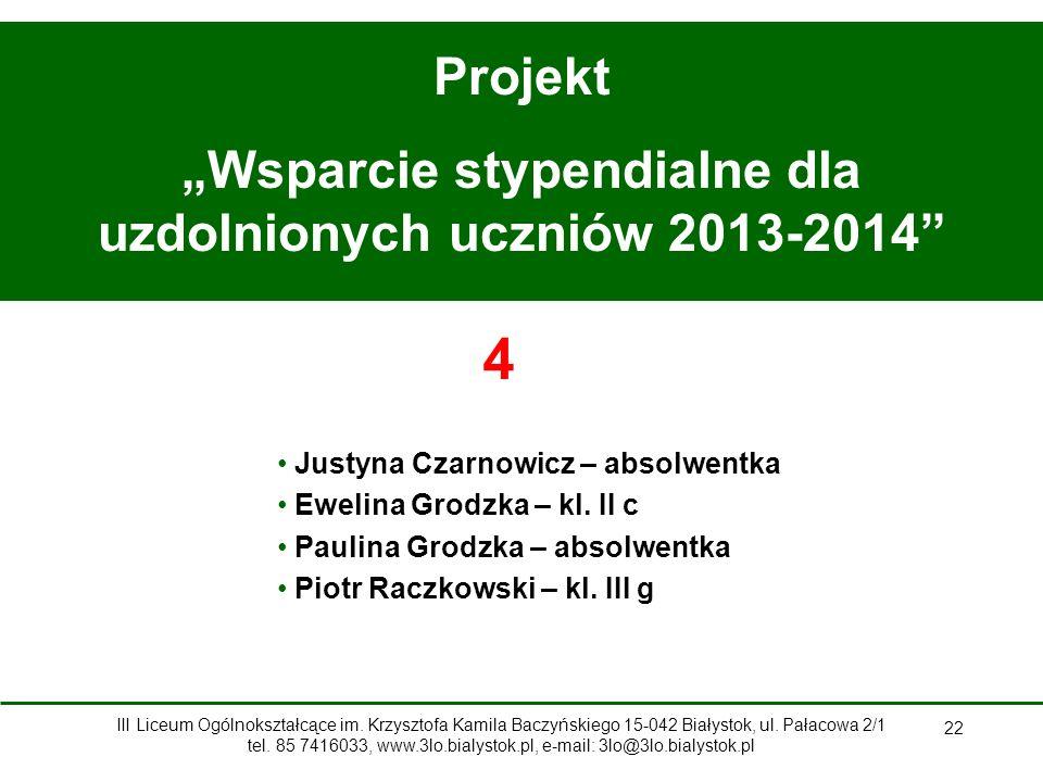 """""""Wsparcie stypendialne dla uzdolnionych uczniów 2013-2014"""