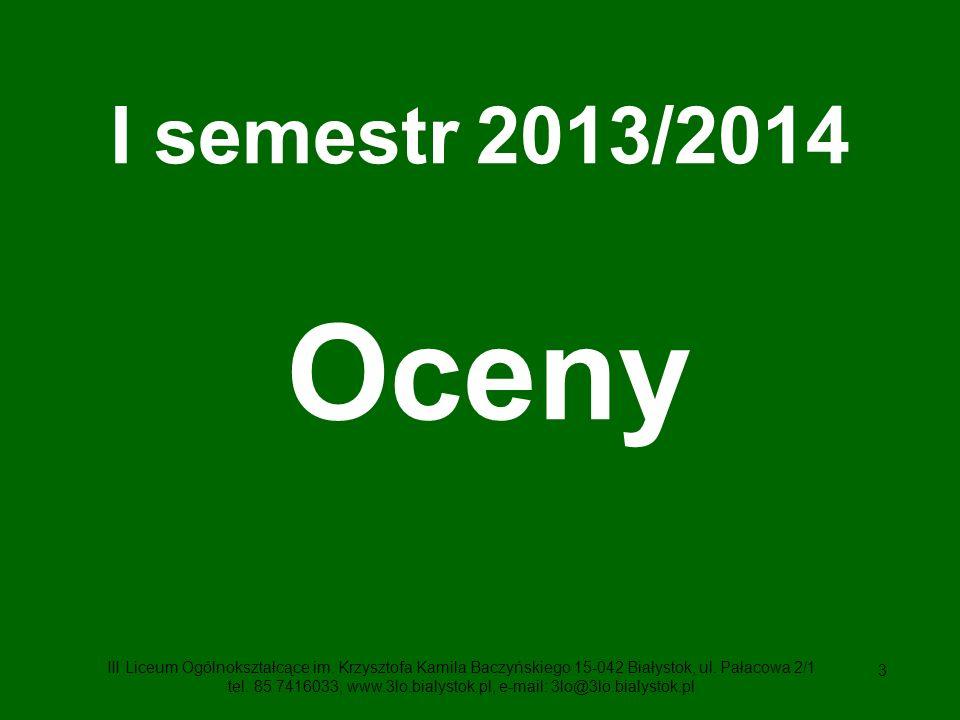 I semestr 2013/2014 Oceny.