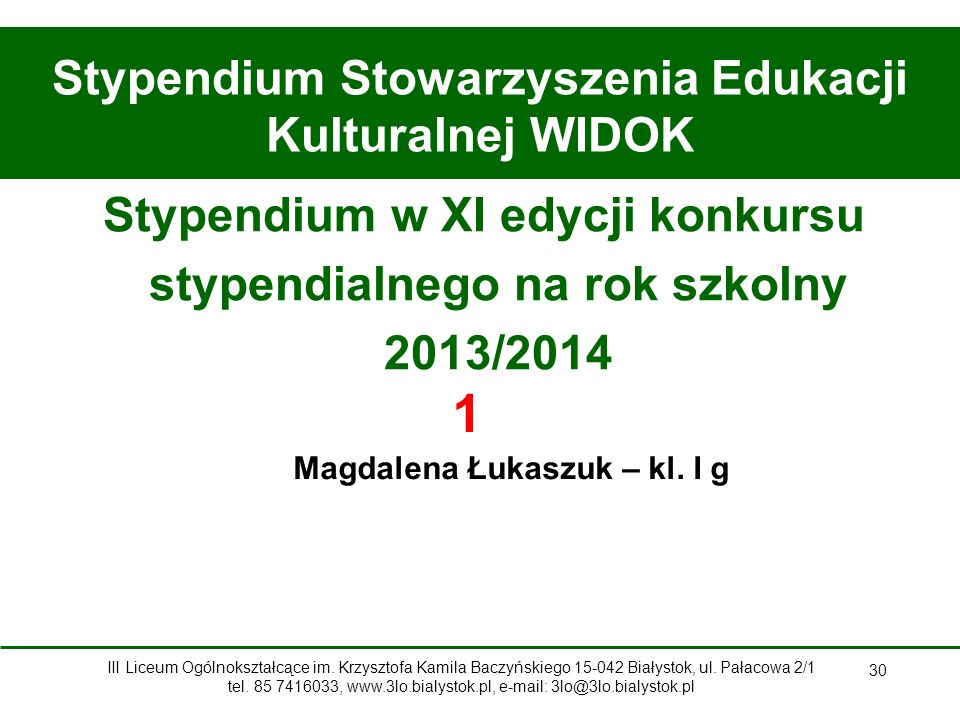 Stypendium Stowarzyszenia Edukacji Kulturalnej WIDOK
