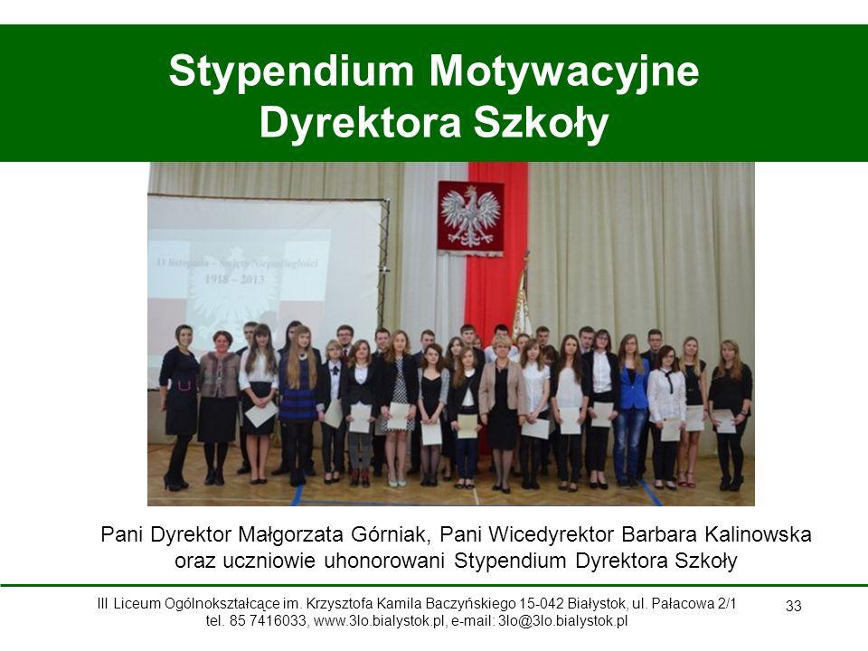 Stypendium Motywacyjne Dyrektora Szkoły