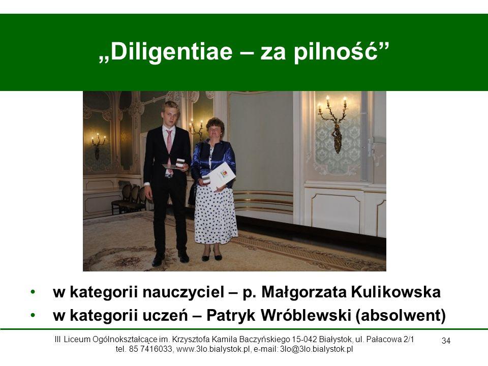 """""""Diligentiae – za pilność"""