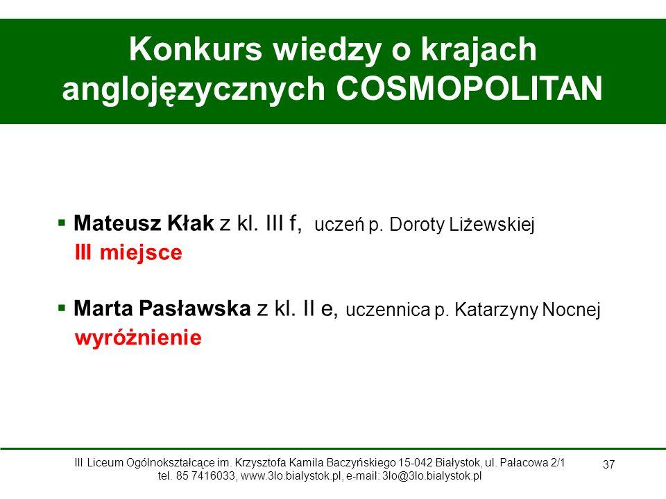 Konkurs wiedzy o krajach anglojęzycznych COSMOPOLITAN