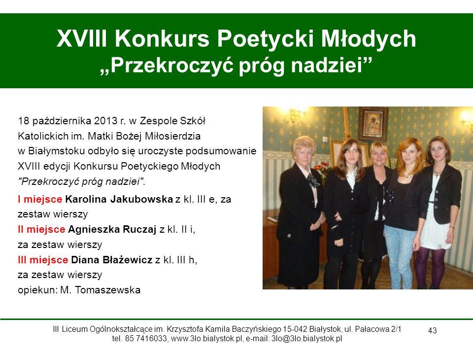 """XVIII Konkurs Poetycki Młodych """"Przekroczyć próg nadziei"""