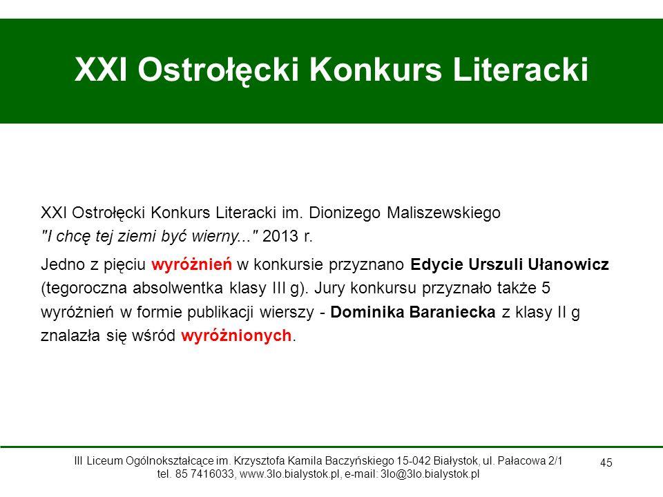 XXI Ostrołęcki Konkurs Literacki