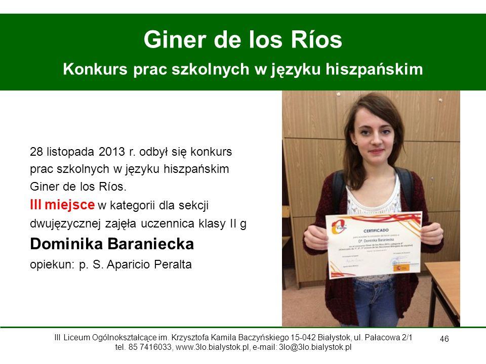Konkurs prac szkolnych w języku hiszpańskim