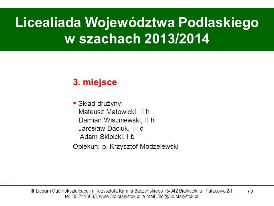 Licealiada Województwa Podlaskiego w szachach 2013/2014