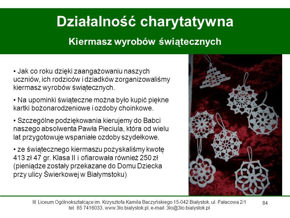 Działalność charytatywna Kiermasz wyrobów świątecznych
