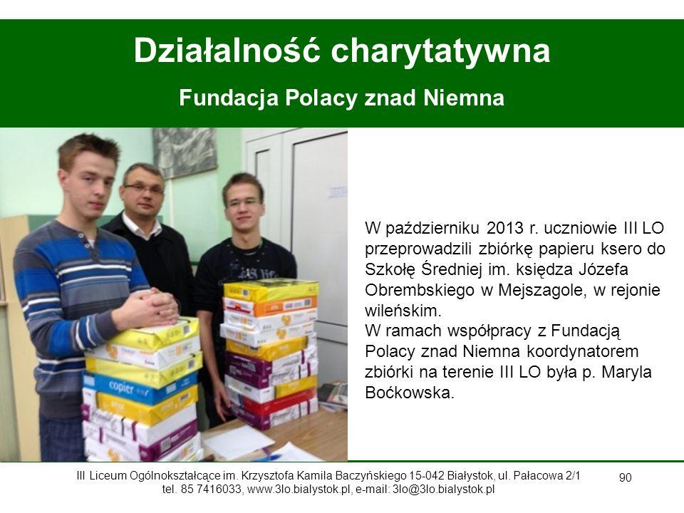 Działalność charytatywna Fundacja Polacy znad Niemna