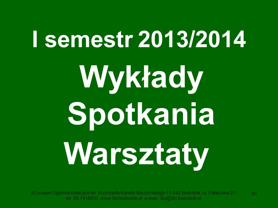 Wykłady Spotkania Warsztaty