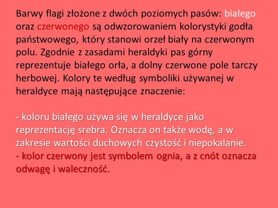 Barwy flagi złożone z dwóch poziomych pasów: białego oraz czerwonego są odwzorowaniem kolorystyki godła państwowego, który stanowi orzeł biały na czerwonym polu.
