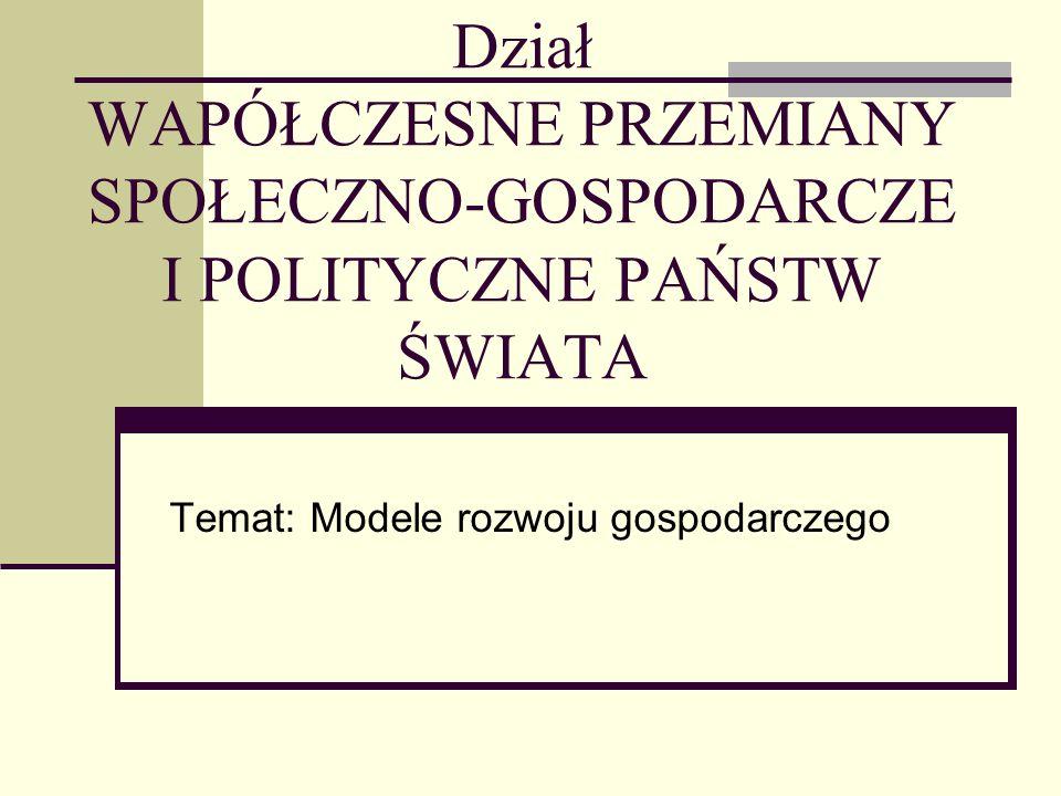 Temat: Modele rozwoju gospodarczego