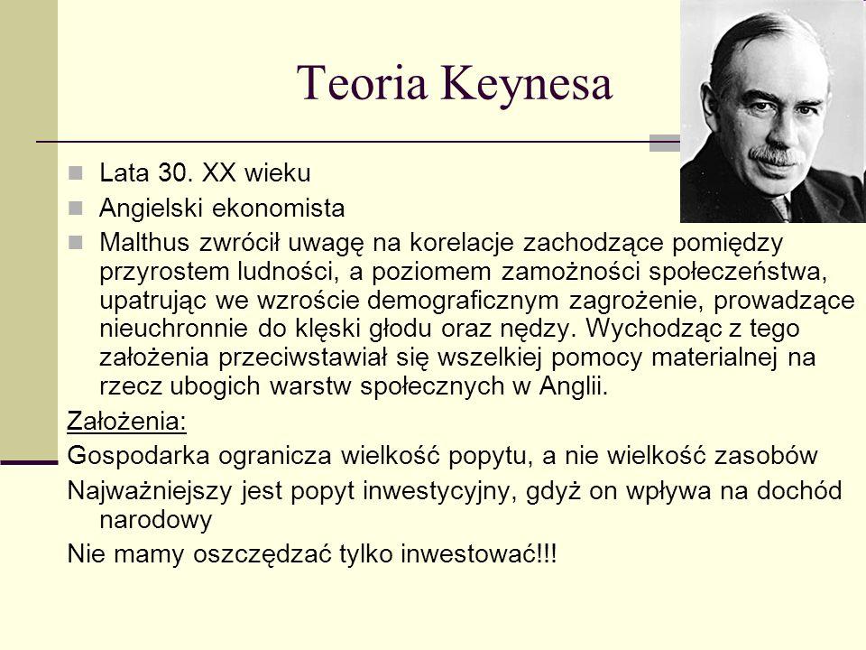 Teoria Keynesa Lata 30. XX wieku Angielski ekonomista