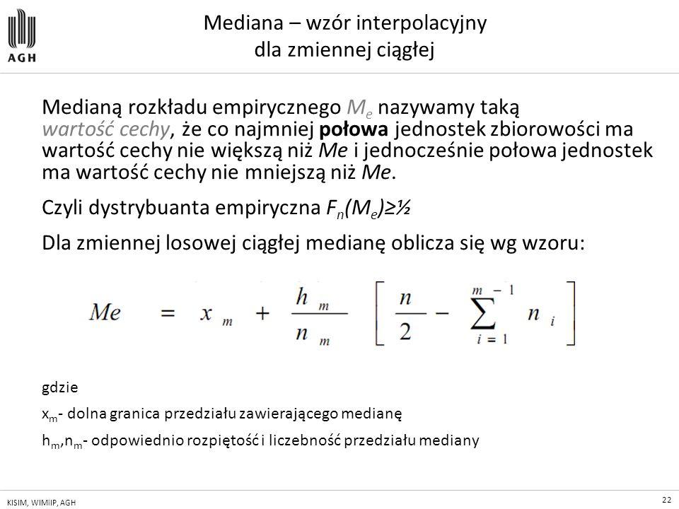Mediana – wzór interpolacyjny dla zmiennej ciągłej