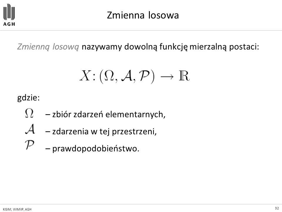 Zmienna losowa Zmienną losową nazywamy dowolną funkcję mierzalną postaci: gdzie: – zbiór zdarzeń elementarnych,
