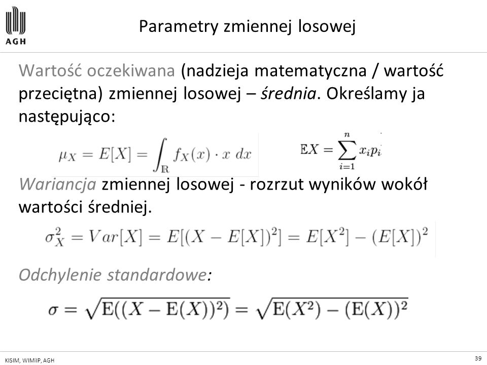 Parametry zmiennej losowej