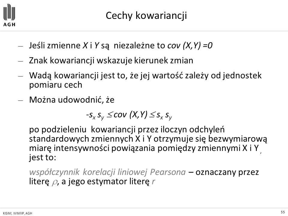 Cechy kowariancji Jeśli zmienne X i Y są niezależne to cov (X,Y) =0