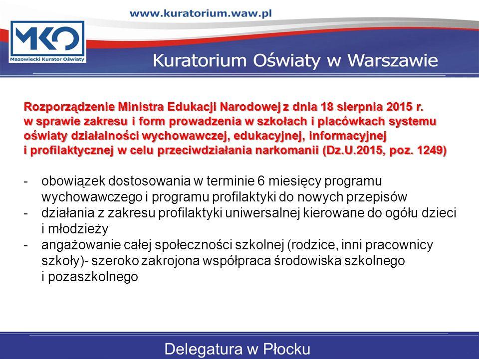 Rozporządzenie Ministra Edukacji Narodowej z dnia 18 sierpnia 2015 r.