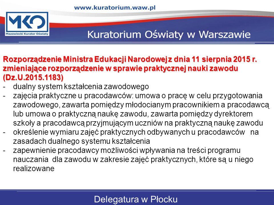 Rozporządzenie Ministra Edukacji Narodowej z dnia 11 sierpnia 2015 r