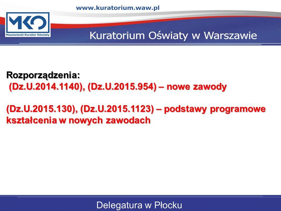 Rozporządzenia: (Dz.U.2014.1140), (Dz.U.2015.954) – nowe zawody.