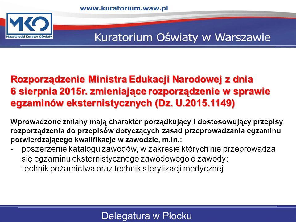 Rozporządzenie Ministra Edukacji Narodowej z dnia 6 sierpnia 2015r