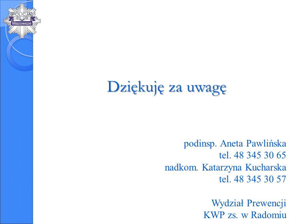 Dziękuję za uwagę podinsp. Aneta Pawlińska tel. 48 345 30 65