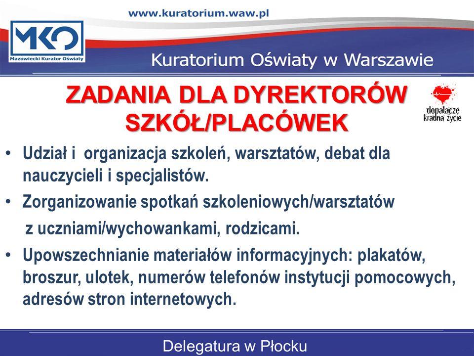 ZADANIA DLA DYREKTORÓW SZKÓŁ/PLACÓWEK