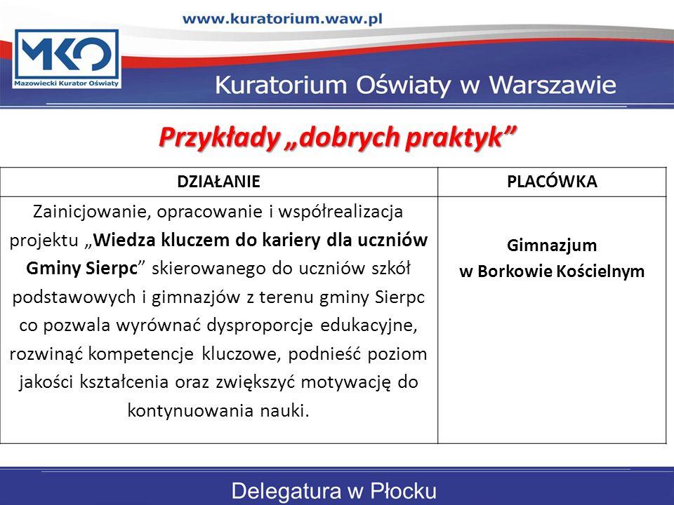 """Przykłady """"dobrych praktyk Gimnazjum w Borkowie Kościelnym"""