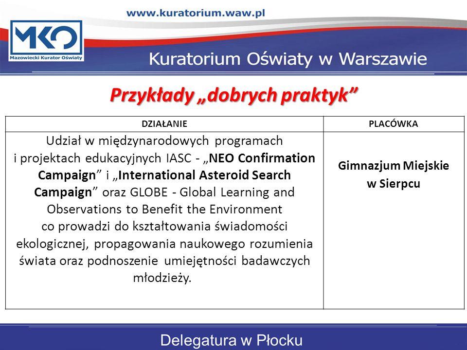 """Przykłady """"dobrych praktyk Gimnazjum Miejskie w Sierpcu"""