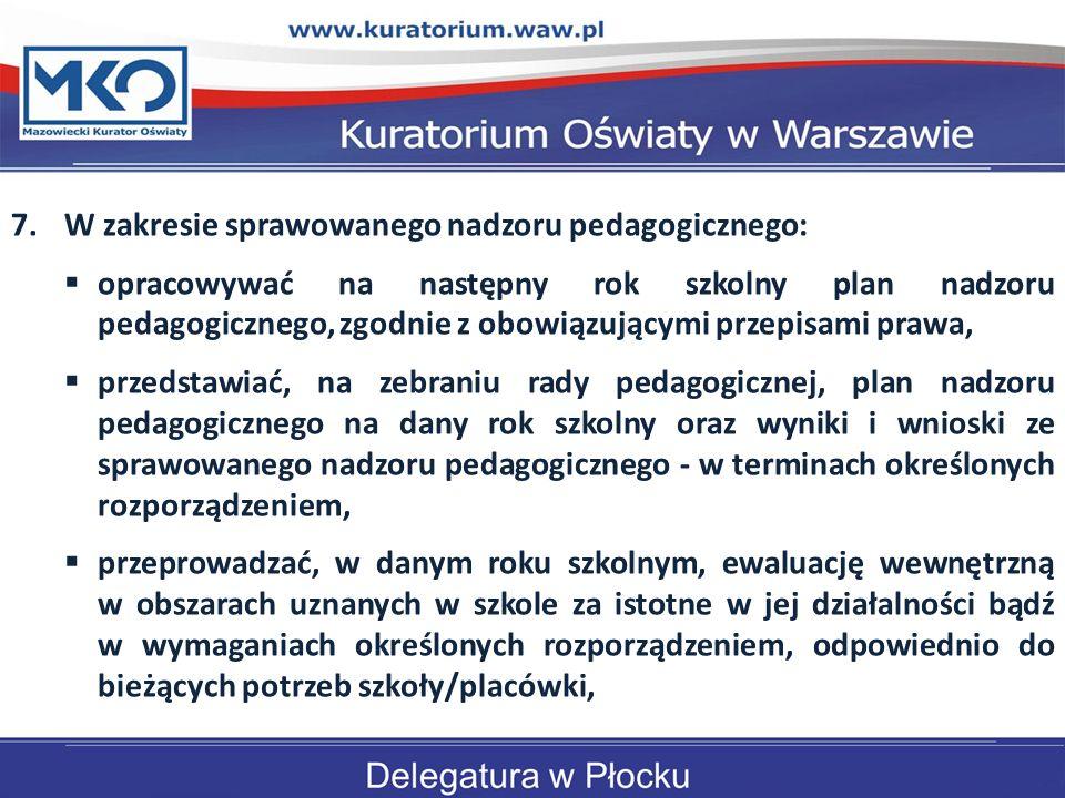 W zakresie sprawowanego nadzoru pedagogicznego: