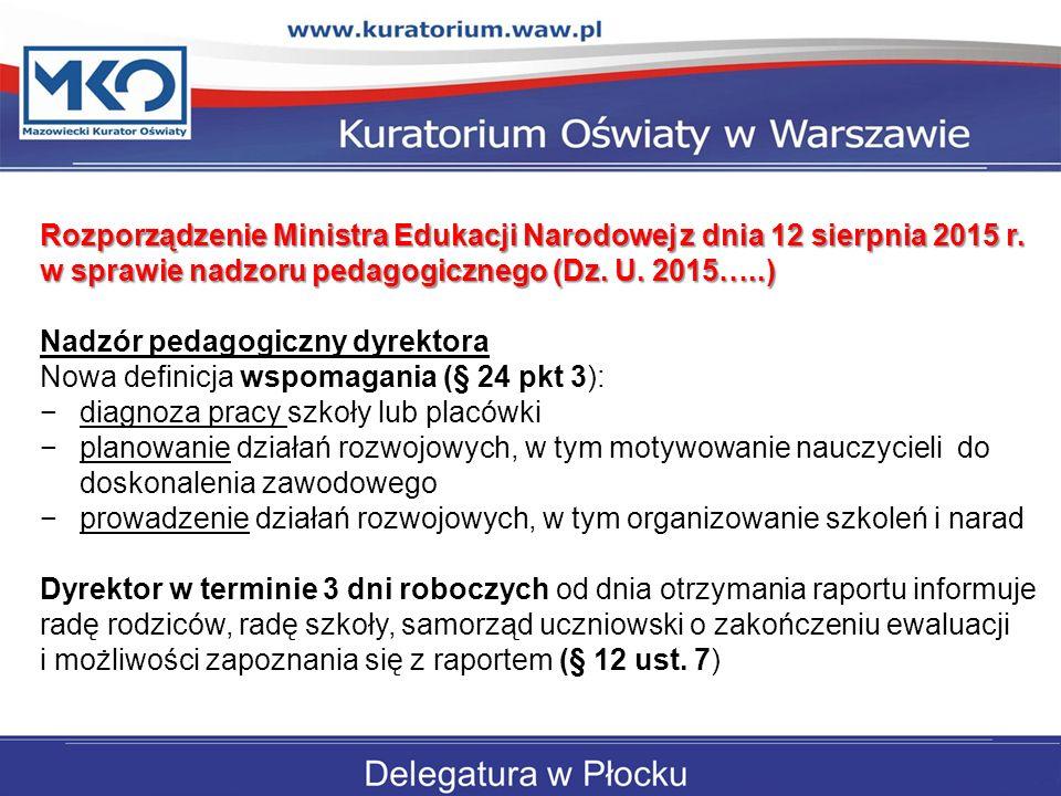 Rozporządzenie Ministra Edukacji Narodowej z dnia 12 sierpnia 2015 r