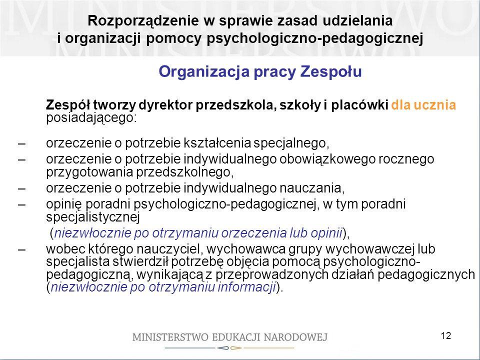 Organizacja pracy Zespołu