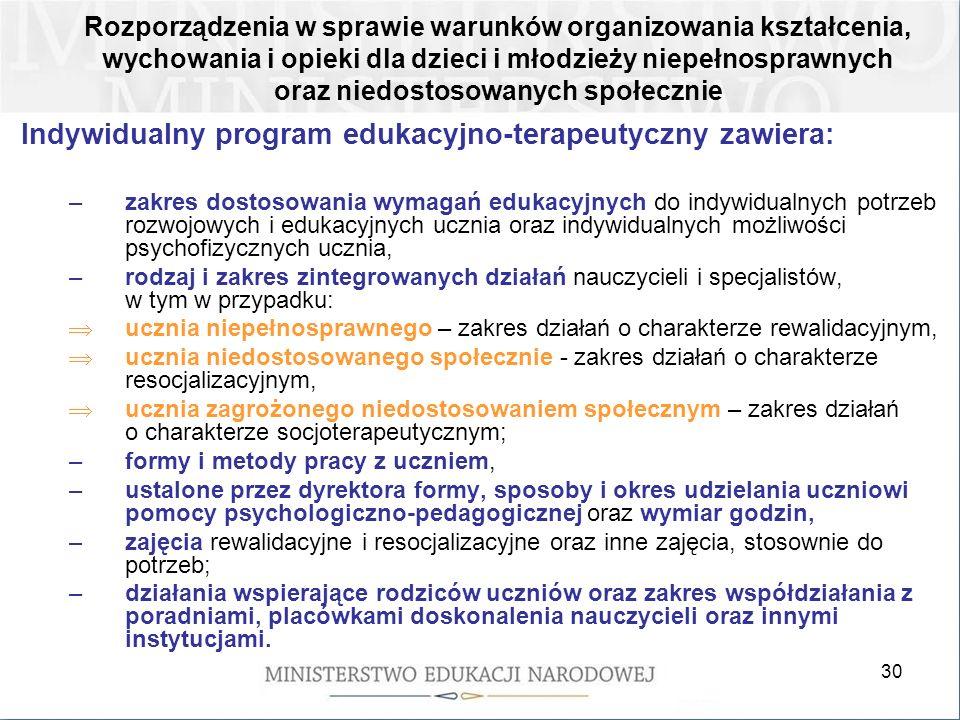 Indywidualny program edukacyjno-terapeutyczny zawiera: