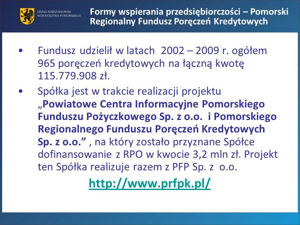 Formy wspierania przedsiębiorczości – Pomorski Regionalny Fundusz Poręczeń Kredytowych