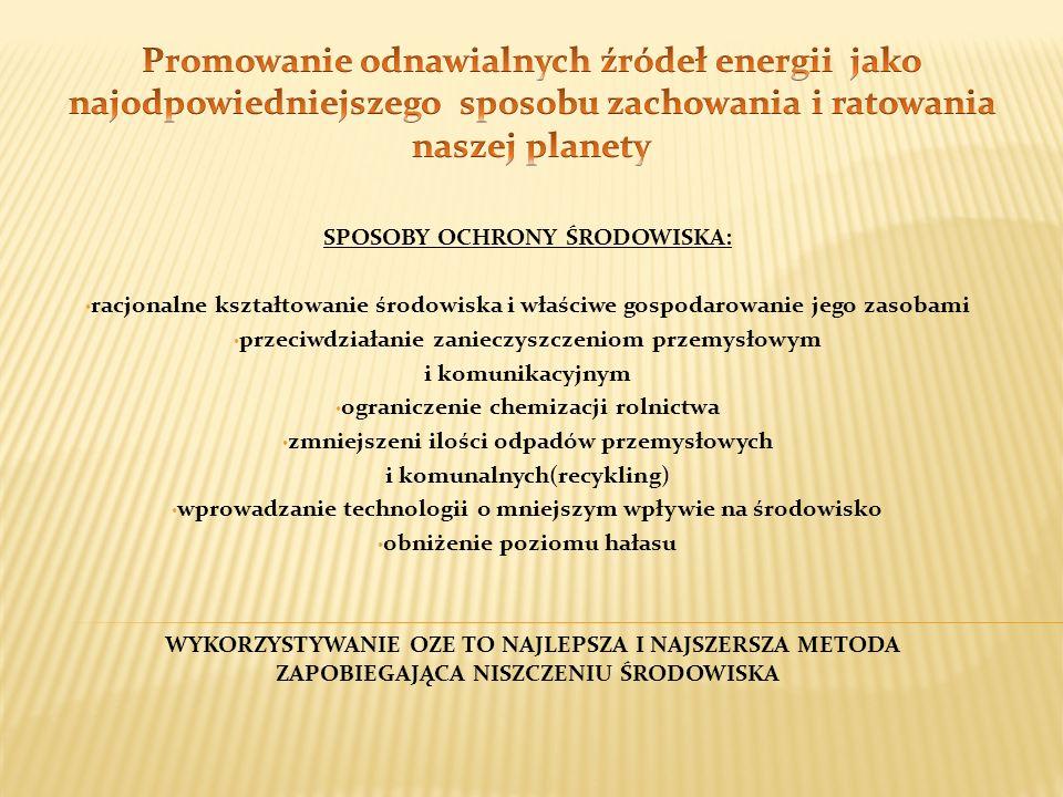 Promowanie odnawialnych źródeł energii jako najodpowiedniejszego sposobu zachowania i ratowania naszej planety