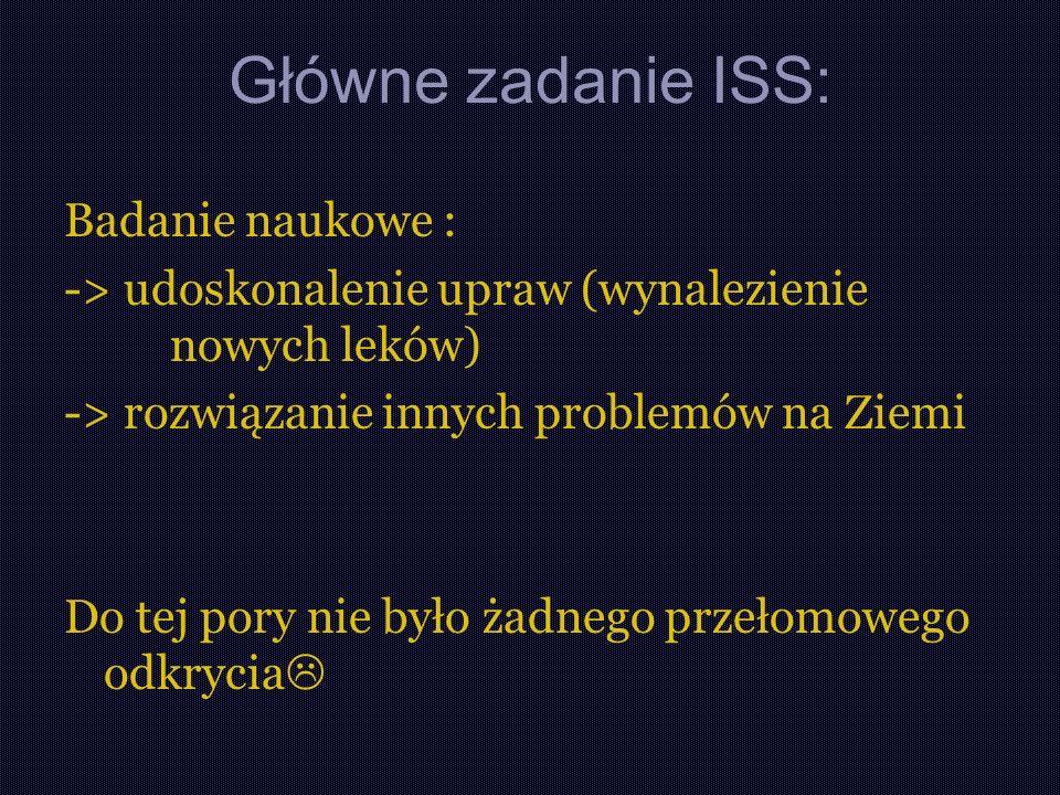 Główne zadanie ISS: Badanie naukowe :