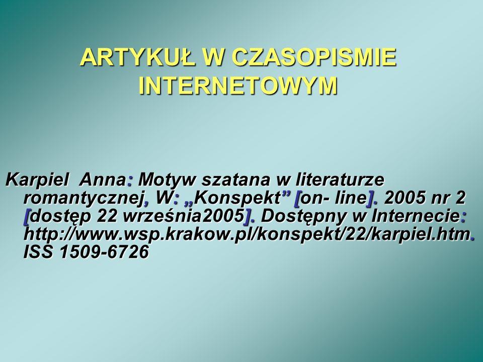 ARTYKUŁ W CZASOPISMIE INTERNETOWYM