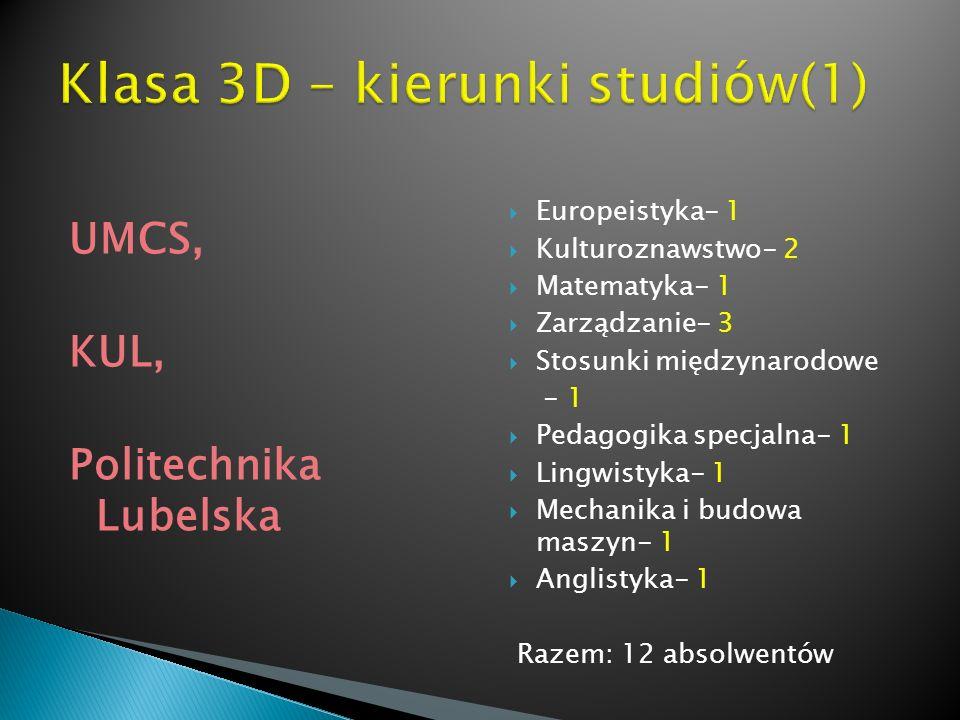 Klasa 3D – kierunki studiów(1)