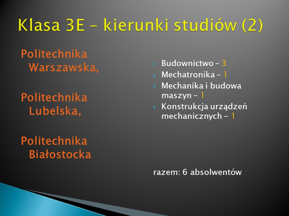 Klasa 3E – kierunki studiów (2)