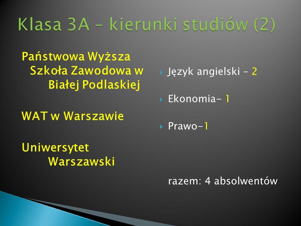Klasa 3A – kierunki studiów (2)