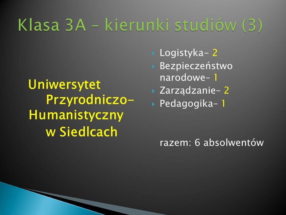 Klasa 3A – kierunki studiów (3)