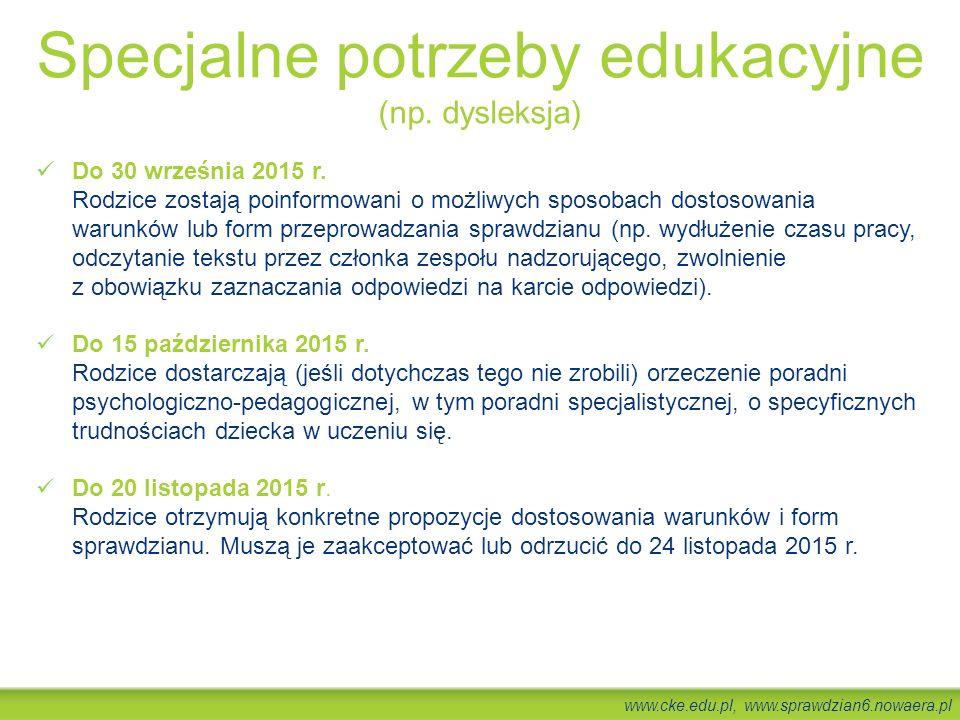 Specjalne potrzeby edukacyjne (np. dysleksja)