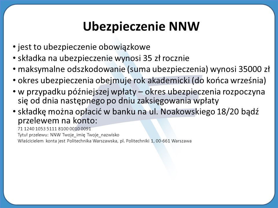 Ubezpieczenie NNW jest to ubezpieczenie obowiązkowe