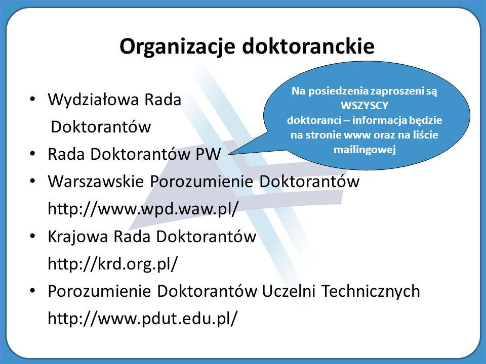 Organizacje doktoranckie Na posiedzenia zaproszeni są WSZYSCY