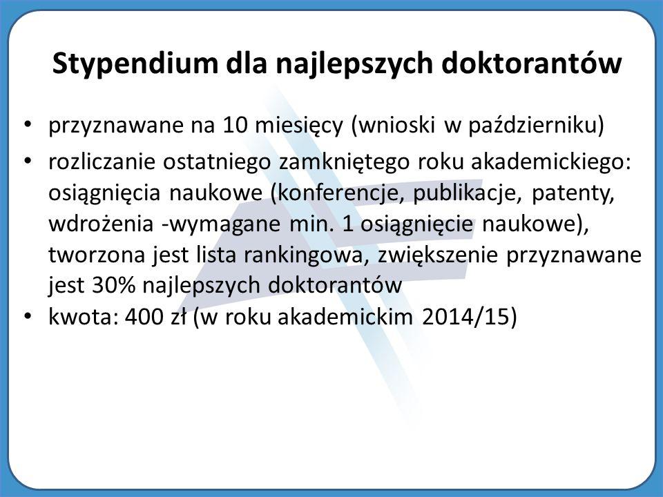 Stypendium dla najlepszych doktorantów