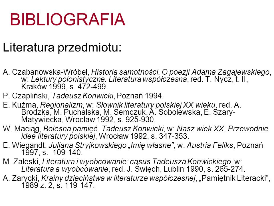 BIBLIOGRAFIA Literatura przedmiotu: