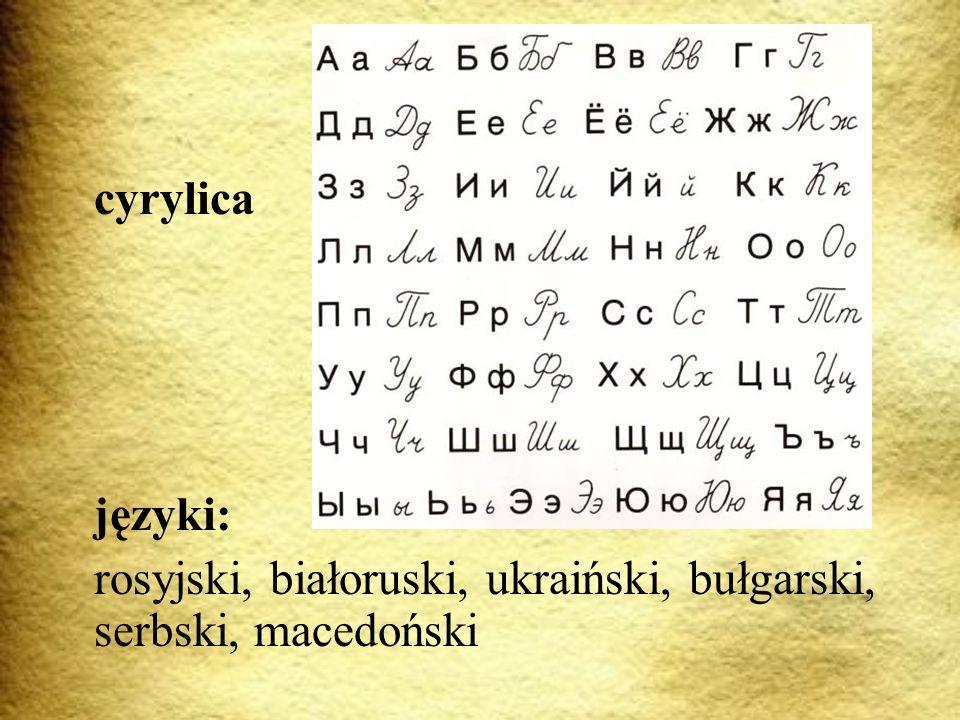 Алфавит Alfabet cyrylica języki:
